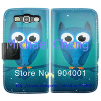 With Card Slot Wallet Stand Owl Leather Case for Samsung galaxy s3 I9300 case