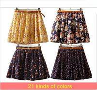 Hot sale ,21Colors Pleated Floral Chiffon Women Ladies Cute Mini Skirt Belt Include W3321