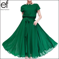 2014 New Arrival Female Cute Style Pure Color Chiffon Dress Knee-length Dress 3 Colors SP365