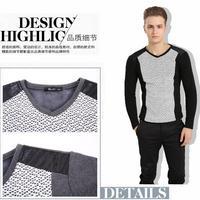 2014 New Hot Leisure men's long sleeve with velvet T-shirt  Vogue splicing men's render the velvet fashion thick men's clothing