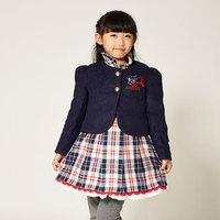 New  Bow Design Girls Children Tank Dress Coat  Winter Fashion  Two -Piece Suit   K4934