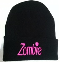Black Rose ZOMBIE---- Beanie Hat Football Skullies Cap Wool Winter Knitted Caps For Man And Women
