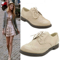 New 2013 women genuine leather shoes her brand  platform vintage leather brogues oxford shoes for women shoe