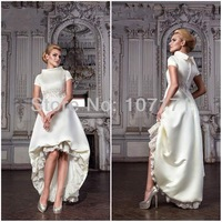 New High Round Neck Short Sleeve Applique Lace Satin Short Front Long Back Wedding Dress