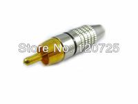 Free Shipping 10pcs RCA Male Plug Audio Video Locking Cable Connector Plug Adaptor