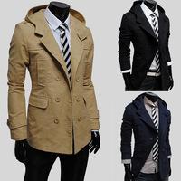 Men's New Fashion Winter Woolean Trench Coat Brand Black Outerwear Hooded Slim Korean Style Medium-Long Outdoor Coat M-XXL
