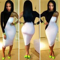 New 2014 Sheath Knee Length One Shoulder Sexy Club Dress Patchwork White Black Dress