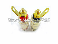Free Shipping 10pcs Speaker Cable Terminals Copper Binding Post Female Gold Connector Plug 32mm