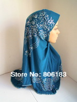 1927 wholesale one piece solid color muslim hijab with a lot of hot drill fashion islamic hijab