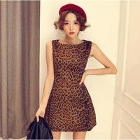 2013 Winter star models leopard suede material sleeveless vest sexy leopard dress
