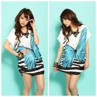 New Arrival Women's Bohemian Loose Dress Summer Dress Butterfly Pattern Thin Blouse Tops