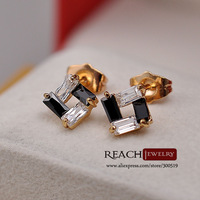 K8050 Fashion 18K Gold Plated Earrings Geometric Figure Zircon Women Stud Earrings Crystal Jewelry Gift For Girls