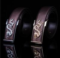 New Arrive Fashion Belt Mens Genuine Leather Belt  Man Waist  Alloy Gold&Silver Dragon Buckle Belts Free Shipping