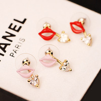 2014 new sexy red lip stud earring
