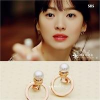 Winter . korean song pearl ring circle female stud earring earrings
