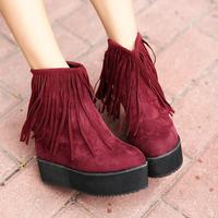 Star fashion flat heel boots platform wedges tassel boots elevator