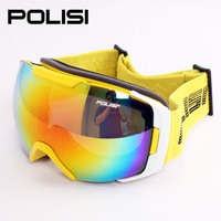 2014Professional polisi skiing mirror double layer antimist ski Snowboard Skate Motorcycle Off-Road Cycling Goggles eyewear Lens
