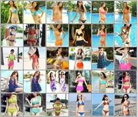 2014 New RETRO Women Swimwear Vintage Push Up Bandeau HIGH WAISTED Bikini Set Dropshipping