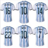 2014 Argentina Home Messi MARADONA KUN AGUERO World Cup soccer jersey Grade Original thai quality football jersey soccer shirt