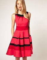 2014 New Arrival Women's Striped Bodycon Cute Dress Celebrity Knee-length Prom Dresses Vestidos