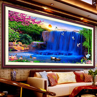 Free shipping 100% DIY high quality precision unfinished cross stitch embroidery cross stitch kit  blue  waterfall