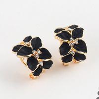 Rich fashion earring exquisite gardenia flower leaves elegant diamond earrings stud earring accessories
