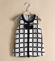 New 2014 Plaid Girls Dress Summer Dresses for Girls Black White Brand Children's Clothing Casual England Style Girl Dress 2-6Y