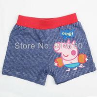 Retail Boys cartoon Peppa pig Striped swimming trunks Children Swimwear Swim Pants Kids Boxer Shorts
