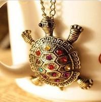 Fashion accessories vintage diamond little turtle necklace