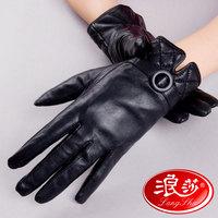 Langsha sheepskin gloves female winter thermal fleece lined thickening brief fashion genuine leather gloves 9662