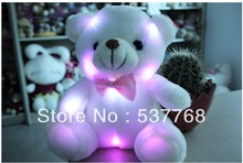 2014 New Stuffed Animal Plush Toys Tie Colorful Dazzling Lights Bear Toy Doll 16 Seconds Repeat Recording Free Shipping(China (Mainland))