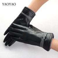 Yaoyao fashion sheepskin genuine leather gloves women's thermal leather gloves plus velvet thickening 8656