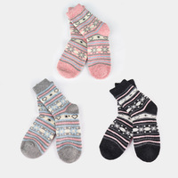 Yaoyao worsted wool thickening socks winter thermal high-elastic yy16 stripe