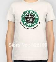 Star Wars Coffee diy shirts men's Fashion band short  t-shirt printing, round neck 100% Cotton.cusotm shirt