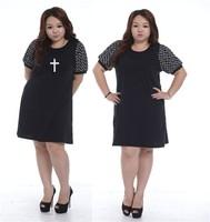 Retro Elegant Dress Plus Size Round Neck Fat Women Dress 2014 Female Summer Large Big Size Clothing Loose Short Sleeve Skirt
