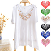 100% cotton embroidery short-sleeve t-shirt plus size clothing
