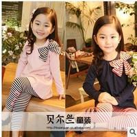 2014 spring autumn children clothing set bow t shirt+pants long-sleeve set girl's sports suit casual sportswear set retail