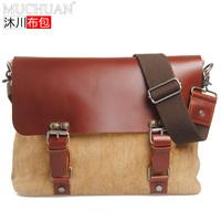HOT selling Free shipping Vintage commercial cowhide handbag canvas+ crazy horse leather shoulder bag fashion canvas casual bag