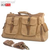 The new 2014 vintage crazy horse leather and canvas bag shoulder bag horse leather cross body bag leisure travel bag