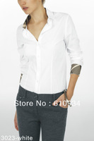2014 New Arrive Free Shipping Women Full Sleeve Checked Shirt, Lady Spring Cotton Solid Beige Brand  Shirt #3023