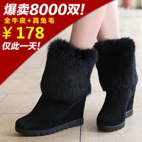 Free shipping Slip-resistant 2013 genuine leather boots wedges high-heeled boots medium-leg natural rabbit fur snow boots
