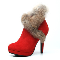 Free shipping Autumn and winter scrub genuine leather rabbit fur boots red high heel platform bridal shoes