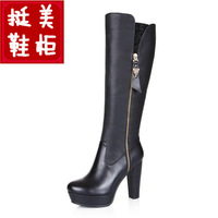 Riskier customize big drum genuine leather high-heeled high boots winter plus velvet thickening mm one piece fur boots