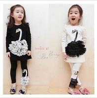 2014 Autumn Children's Clothing Set Baby Girls  Swan Suit kids lace paillette long-sleeve shirt+pant baby girl's clothing set