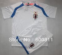 free shipping(12pcs/lot) 2014  world cup  japan white away soccer jersey  with shorts 10#kagawa   4#honda