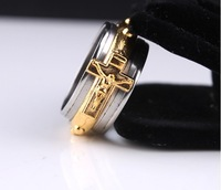 Free shipping gold color Jesus Cross 316L Stainless Steel rings men jewelry size 7 8 9 10 11 wholesale lots