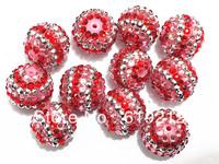 Free Shipping !  20mm 100pcs/lot Pink/Silver/Red Striped Rhinestone Beads