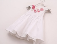 free shipping DS4006   girl  summer girl flower white pinkdress, summer cotton dress, tank dress