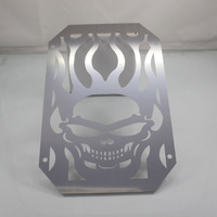 Vulcan VN 800 VN400 1995+ Skull w/ Flames Radiator Grille Cover Polished Stainless