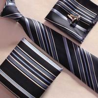 1 SET fashion necktie set cufflinks with pocket squares beautiful gift box